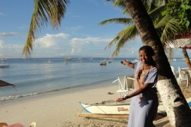 Wangechi enjoying the beautiful beach in Bohol, Philippines