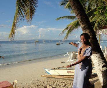 Wangechi enjoying the beautiful beach in Bohol, Philippines