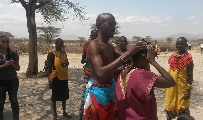Being adorned like a Samburu lady in Archers Post, Kenya