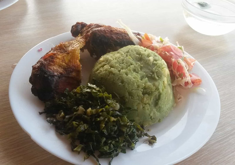 My meal in Meru-chicken, mukimo and vegetables