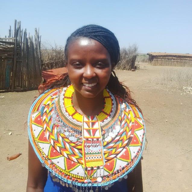 Dressed like a Samburu lady in Samburu, Kenya