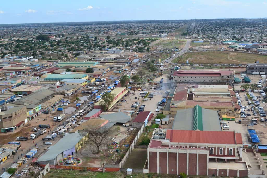 Aerial view of Lusaka, Zambia