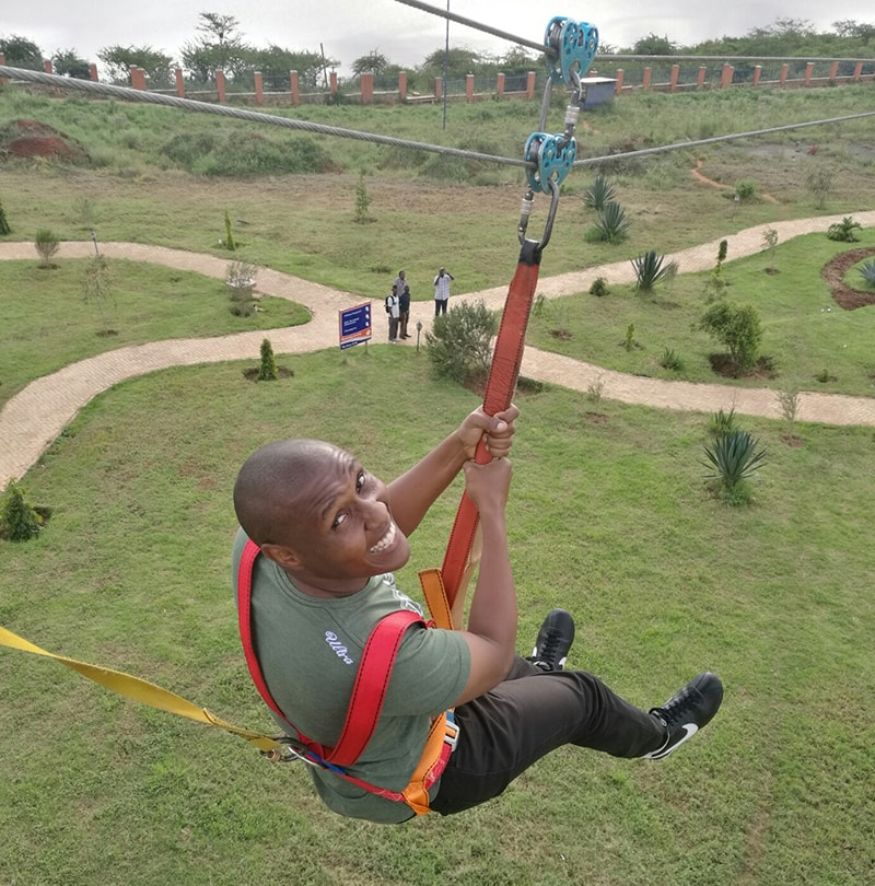 David zip lining at machakos peoples park