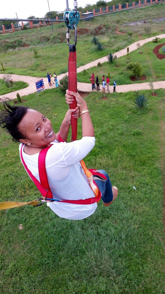 Vivianne having a go at Zip lining at Machakos Peoples Park, Machakos, Kenya