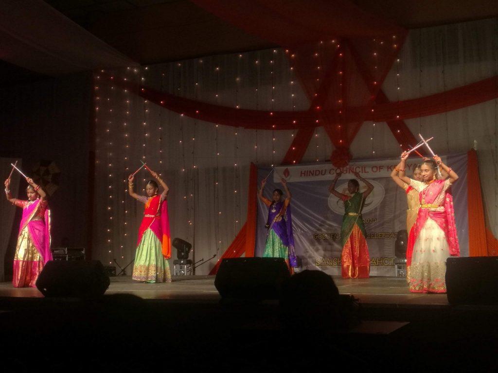 Girls dancing Indian traditional dance
